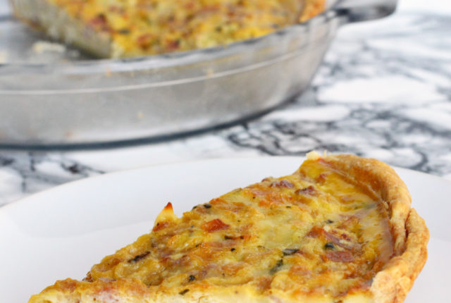 Lightened Up Ham, Gruyere, and Caramelized Onion Quiche