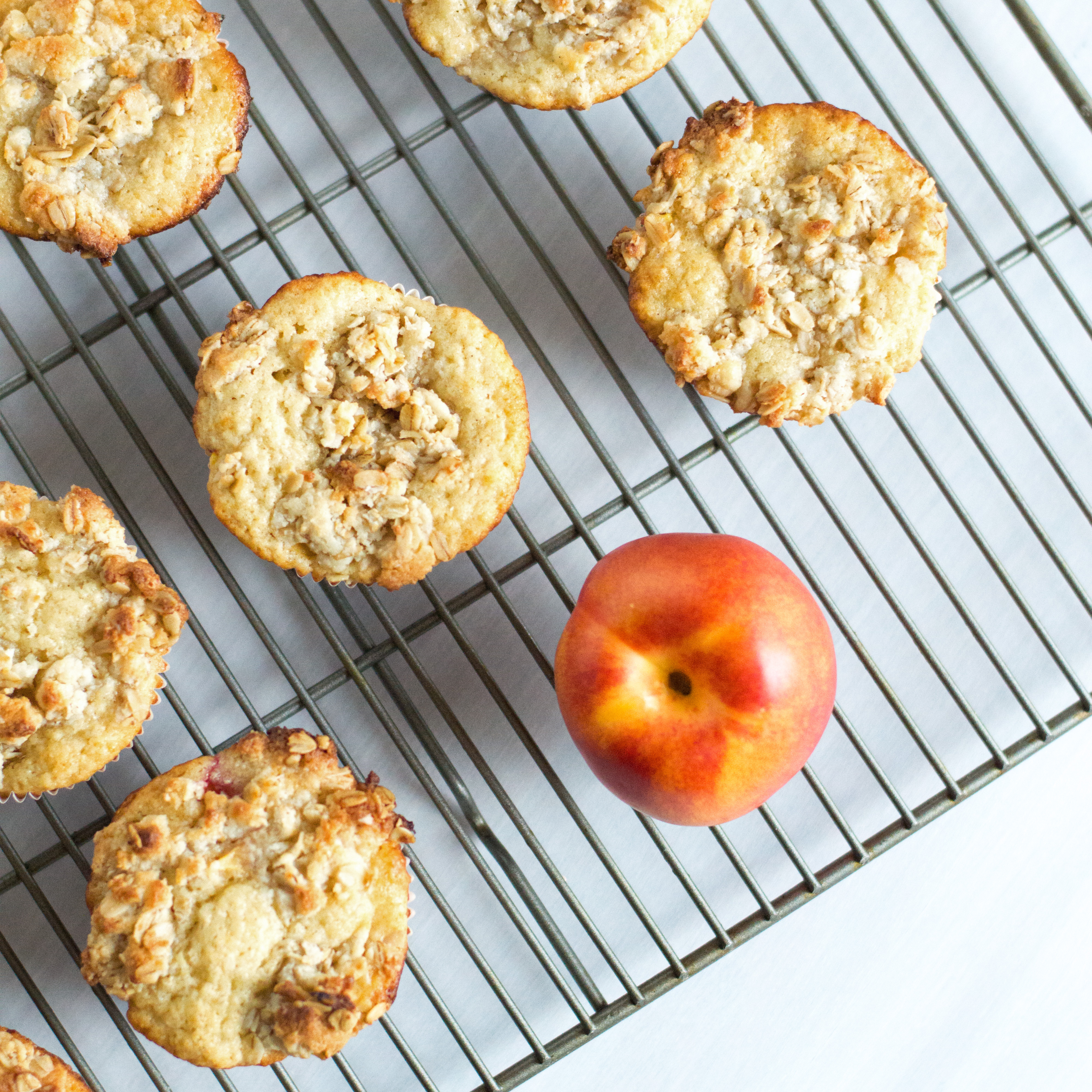 Nectarine and Almond Crumb Muffins