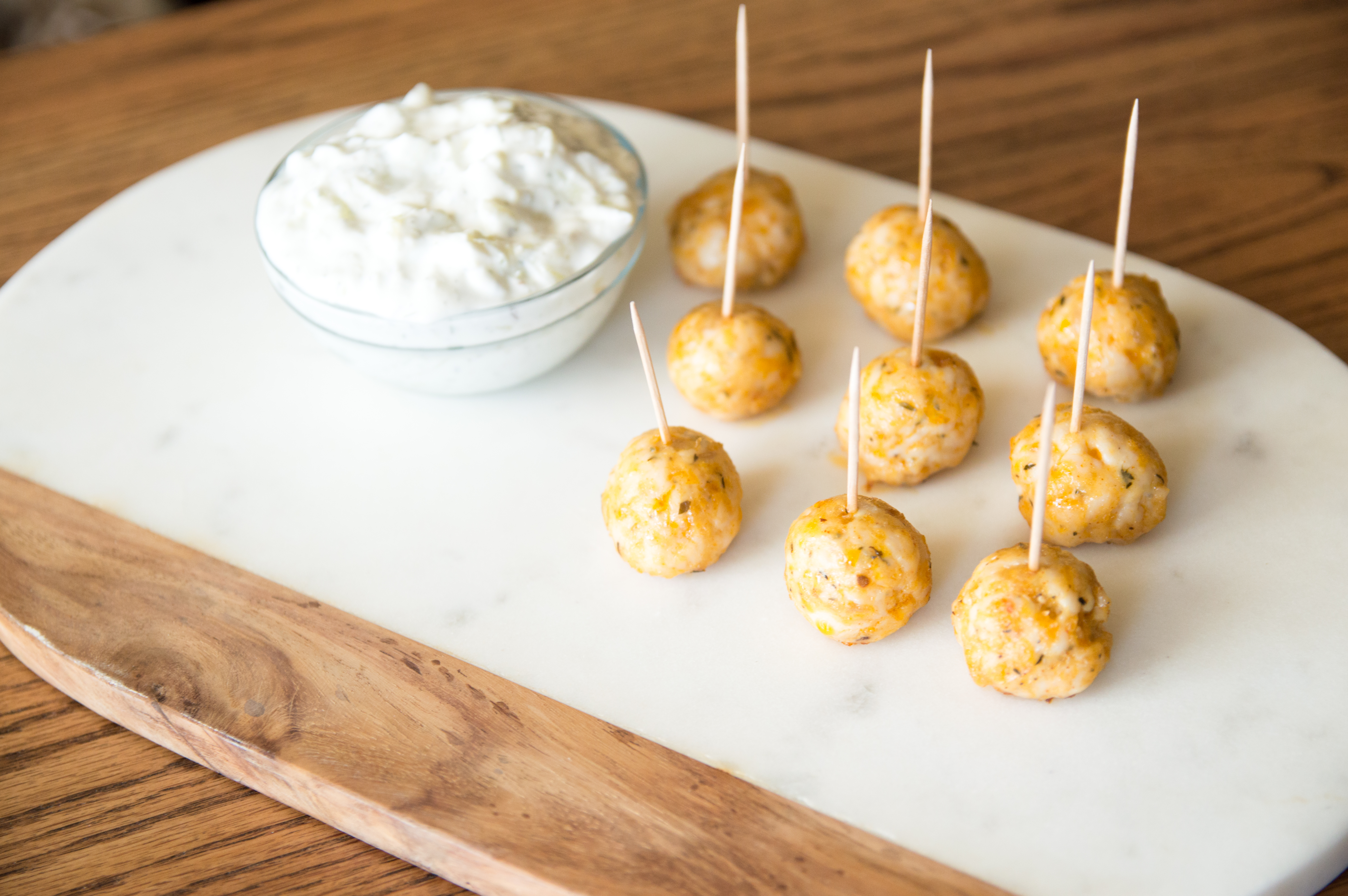 Party Size Turkey Meatballs with Tzatziki