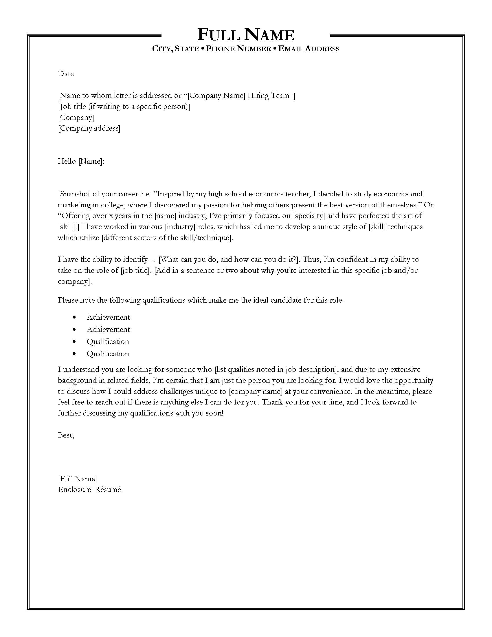 Writing The Perfect Cover Letter  Cover Letter Name